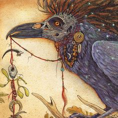 CORAX - Raven Shaman Art Print by Stephanie Lostimolo