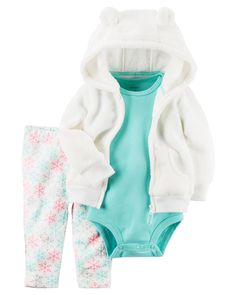 Crafted in plush snow fleece with a cozy animal ear hood, this cardigan set is complete with a soft cotton bodysuit and pants.