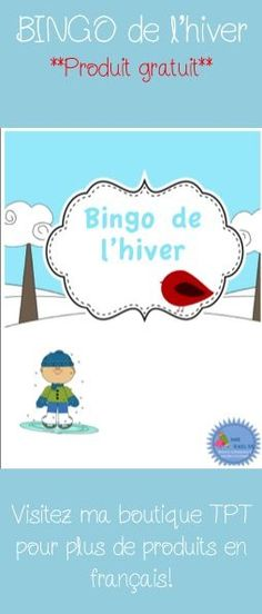 Free TPT product! French Bingo de l'hiver