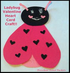 Preschool Powol Packets: Ladybug Valentine Heart Card Craft