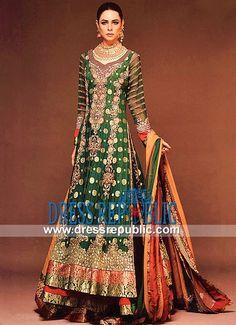 Emerald n Royal Red Double Layered Bridal Shirt Ahmad Bilal Designer