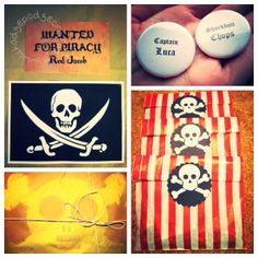 How to host a DIY pirate party for toddlers! (www.hodgepodgecra..., free printable treasure map invitations, treasure hunt, doubloons, tutorials, eye-patch, pirate hat, pirate ship cake recipe, outfits/costumes, activities, no-mess craft, mini treasure favour boxes, decorations, booty bags, prizes and thank you cards!)