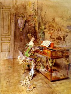 The Lady Pianist - Giovanni Boldini I love the gold colors and the dress looks amazingly beautiful.
