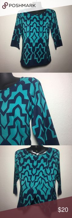 🌷Geometric Design Blouse by Moonlight USED - Good Condition   Flaps open in the back of the blouse   100% Polyester  Hand wash Cold Do not bleach Line dry Moonlight Tops Blouses