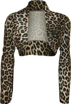 WearAll Women's Plus Size Animal Print Open Shrug - Leopard - US 14-16 (UK 18-20) Amazon