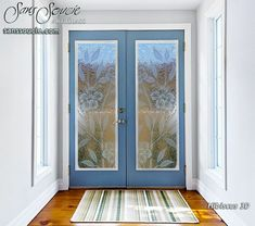 Hibiscus 3D Gluechipped  Entry Glass Doors