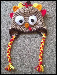 Turkey Lurkey earflap hat with braids Crochet Pattern PDF