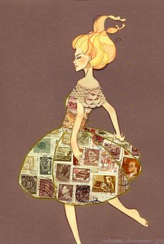 Fragile II by Taztooed- love the use of old stamps - need to look for some at flea markets.