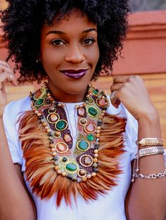 Necklace, Retro, Earth Tones, Stones n Feathers, Unique Tribal Statement Neck Piece by Marelle. All Things Fabulous, Body Adornment, Feather Necklaces, Neck Piece, Beaded Jewelry, Handmade Jewelry, Earth Tones, Statement Jewelry, Body Jewelry