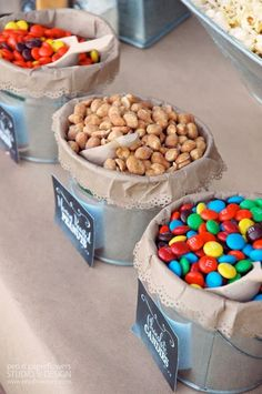 MAKE YOUR OWN TRAIL MIX for your final hikes tomorrow! At long last I am finally posting the pictures of the re-styled Rustic Popcorn Bar I created for our Neighborhood Fall Family Picnic . Candybar Wedding, Wedding Snack Bar, Wedding Favors, Wedding Candy Table, Candy Bar Party, Party Snacks, Wedding Candy Buffet, Sweet Table Wedding, Candy Bar Labels