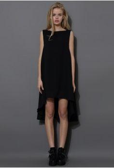Black Asymmetric Waterfall Chiffon Dress - Dress - Retro, Indie and Unique Fashion