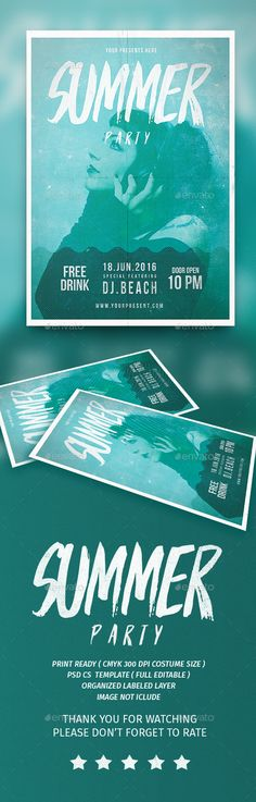 Summer Party Flyer Template PSD. Download here: http://graphicriver.net/item/summer-party-flyer/16274690?ref=ksioks