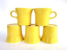 Mid Century Modern Yellow Ceramic Mugs, Made in U.S.A., Set of 5 Gold Cups
