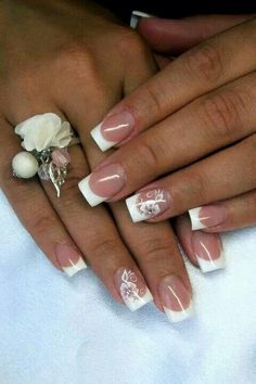 French Tip Design Acrylic Nails. White Flowers & Rhinestone Accent