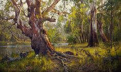 At the Edge of the River Fantasy Paintings, Paintings I Love, Nature Paintings, Fantasy Landscape, Landscape Art, Landscape Paintings, Landscapes, Australian Painting, Australian Artists