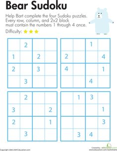 On this second grade math worksheet, kids use their logical reasoning and critical thinking skills to help Bart the Bear solve four Sudoku number puzzles. Sudoku Puzzles, Number Puzzles, Logic Puzzles, Multiplication Worksheets, Math Early Finishers, Logic Problems, Math Quotes, Math Enrichment, First Grade Math