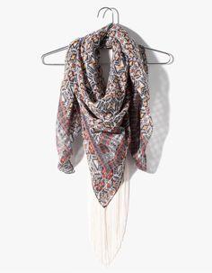Boho neck scarf with fringing