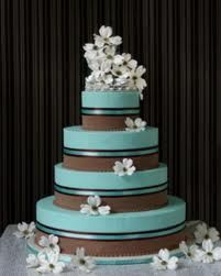 Wedding Ideas - Blue and Brown Cake