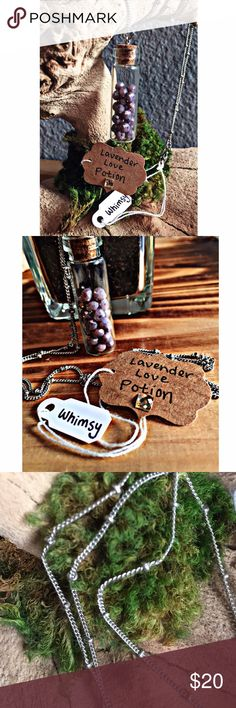 Lavender Love Potion Necklace This is my Lavender Love Potion Necklace from my handmade collection 'Whimsy':) This piece features gorgeous lavender crystal beads inside of an amazing potion bottle:) So lovely! The chain is beautiful & has little silver ball accentuations along it:) This piece is completely nickel free! A one of a kind piece that is a great addition to your jewelry collection. Depending on the lighting the coloring can look lighter or darker:) Whimsy Jewelry Necklaces
