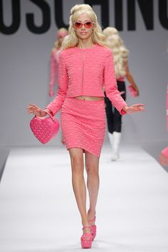 all barbie all the time with Jeremy Scott's Spring collection.  Moschino rtw Spring 2014 Runway high res