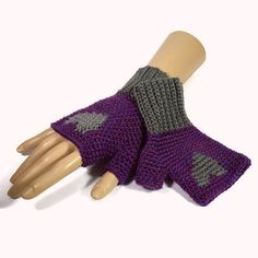 Purple and Grey Heart Gloves Ladies Crochet by Bluebirdsanddaisies