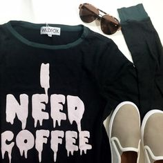 Wildfox I Need Coffee Baggy Beach Jumper Size M in vintage black (faded black color). NWT. 01251606 Wildfox Tops Sweatshirts & Hoodies