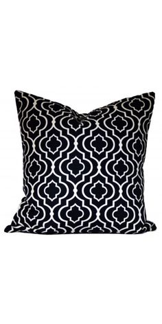Contemporary black and white throw pillow.