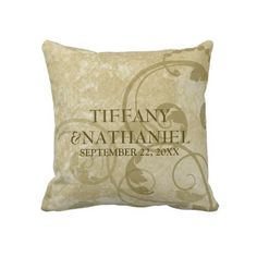 Fall Floral Parchment Wedding Pillow