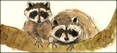 Raccoons original watercolor painting by Juan Bosco - San Martin Arts Crafts