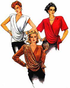 Womens Front Draped Blouse 1980s Vogue 9472 Vintage by patternshop, $14.99