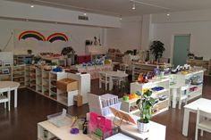 """a Montessori room--a definite """"look"""" with Montessori Montessori Kindergarten, Montessori Classroom, Preschool Layout, Classroom Layout, Teacher Office, Little People, Home Deco, Playroom, Daycare Ideas"""