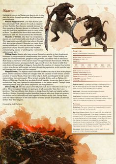 Homebrewing races Homebrewing dnd DnD Homebrew Skaven Monsters by JoshTheGent Dungeons And Dragons 5e, Dungeons And Dragons Characters, Dungeons And Dragons Homebrew, Dnd Characters, Cool Monsters, Dnd Monsters, Fantasy Races, Fantasy Rpg, Fantasy Creatures