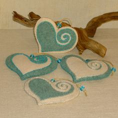 Beaded Mint Blue and Creamy White Wool Felt Heart by BJGInspired