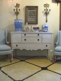 vintage dresser; pair of newly upholstered vintage chairs