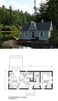 I see two chimneys and no stoves/fire places in the floor plan- add them and this is the perfect tiny house Small Tiny House, Tiny House Living, Tiny House Design, Small House Plans, House Floor Plans, Home Design, Tiny Home Floor Plans, Two Bedroom Tiny House, 1 Bedroom House Plans