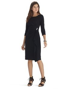 White House   Black Market Knit 3/4 Sleeve Black Wrap Dress #whbm