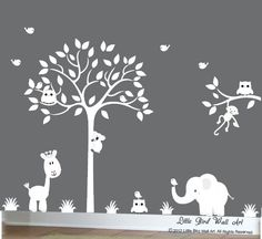 White decal tree silhouette jungle decal by Littlebirdwalldecals