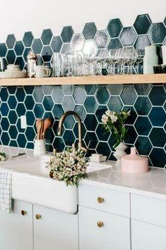 Home Decoration For Wedding pretty teal tile in the kitchen.Home Decoration For Wedding pretty teal tile in the kitchen Deco Design, Küchen Design, Design Ideas, Design Trends, Design Blogs, Design Styles, Design Color, Design Concepts, Modern Design