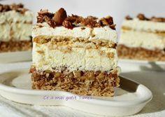 Prajitura Deliciu Romanian Desserts, Romanian Food, Sweet Desserts, Vegan Desserts, Mini Cakes, Cupcake Cakes, Cake Recipes, Dessert Recipes, Pastry Cake