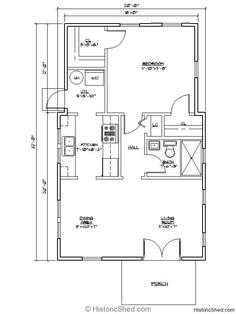 Cottage 20'x32' one bedroom, one bath cottage with utility room (616 SF)