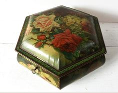 Stunning Vintage Large French TIN Box with key.  With a elegant floral decor .  It was certainly a sewing box , inside , there is a beautiful gold