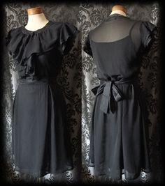 Gothic Black Sheer Frilled SOLITUDE Buttoned Tea Dress 10 12 Victorian Vintage - £36.00