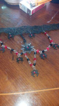 Necklace goth spider