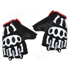 Spakect Cool006 Outdoor Cycling Half Finger Gloves w/ Protective Pad - Black   White   Red (M) Price: $12.30