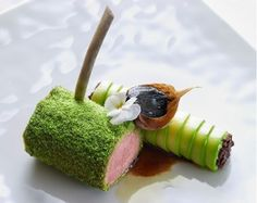 Green-coated Lamb Rack with Zucchini Cannelloni and Fresh Chevre, a recipe from Yannick Franques, Grand Chef Relais & Château, Château St. Martin, on Gourmetpedia Lamb Recipes, Wine Recipes, Gourmet Recipes, Gourmet Desserts, Food Design, Food Plating Techniques, Michelin Star Food, Rack Of Lamb, Lamb Dishes