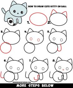 Easy Drawings Learn How to Draw a Cute Kitten Playing on a Soccer Ball Easy Step by Step Drawing Tutorial for Kids Cat Drawing For Kid, Cat Face Drawing, Drawing Videos For Kids, Drawing Tutorials For Kids, Drawing For Beginners, Drawing Lessons, Drawing Drawing, Art Lessons, Ball Drawing