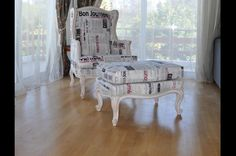 Custom made armchair with matching foot stool, solid wood frame, patina Armchairs, Custom Made, Solid Wood, Toddler Bed, Stool, Vanity, Furniture, Home Decor, Urn