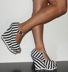 Black And White Wedge Heels | Tsaa Heel