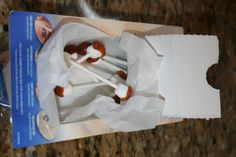 Gross Halloween Food or April Fool's -  Earwax Qtips - Mini Marshmallows on lollipop sticks dipped in caramel