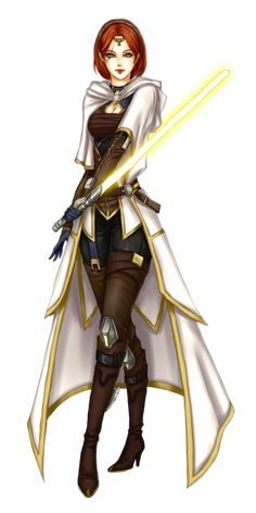 Woman Jedi Academic / Jedi Scholar.  The Jedi Academics or Scholars would traditionally use Sun-Yellow Lightsabers.